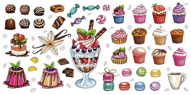 ベーカリーペストリーお菓子デザートオブジェクトコレクションショップカフェポスターレストランメニュー食品。