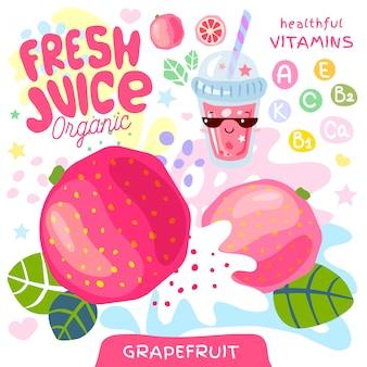 Свежий сок органического стекла мило каваи персонаж. стиль детей абстрактного сочного витамина плодоовощ выплеска смешной. грейпфрут цитрусовый тропический экзотический йогурт смузи чашка. иллюстрации.
