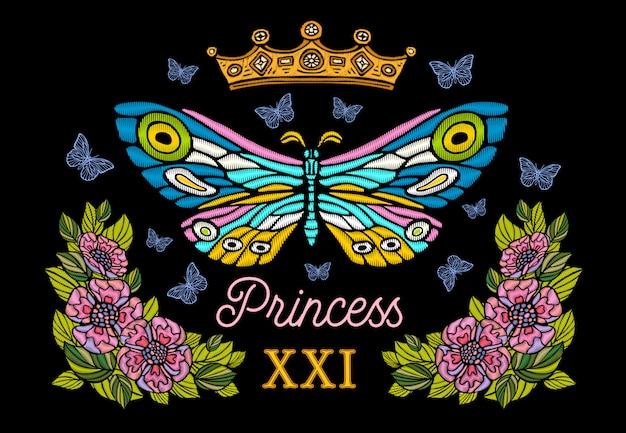 ゴールデンクラウン、蝶のカラフルな刺繍、ビンテージスタイルの花。プリンセスのレタリング。手描きイラスト。