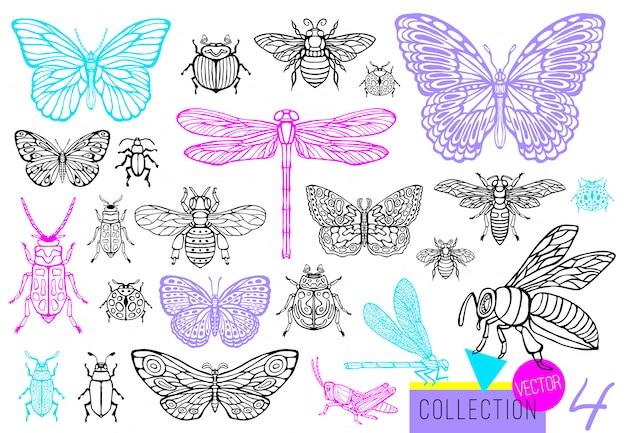 昆虫のバグ、カブトムシ、ミツバチ、蝶の大きな手描き線セット。蛾、マルハナバチ、ハチ、トンボ、バッタ。シルエットヴィンテージスケッチスタイル刻まれたイラスト。