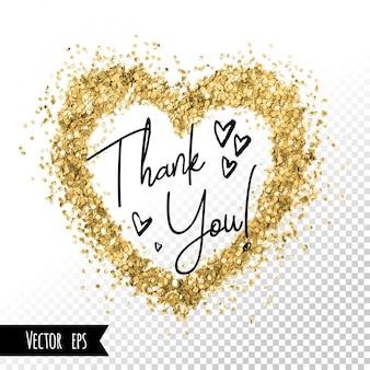 黄金の心箔キラキラブラシストローク。カードデザインありがとうございます。ソーシャルメディアネットワークの美しいフレームテンプレートの背景。黄金箔の抽象的なスポット。