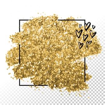 ゴールデンフレームインクハート箔キラキラブラシストローク。心のカードデザイン。黄金箔の抽象的なスポット。