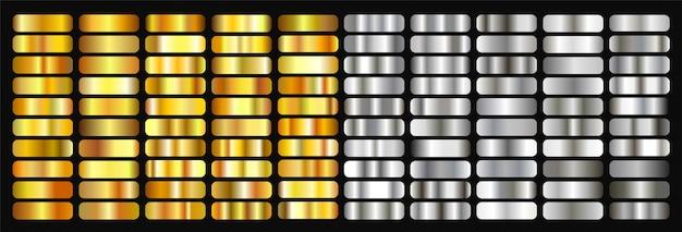 大きな黄金と銀のグラデーションセットのコレクション