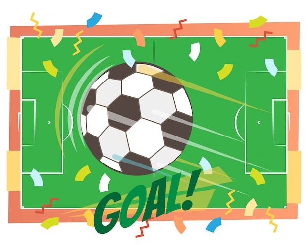 Футбол цель концепции векторной иллюстрации с летающим мячом и зеленым футбольным полем, вверх