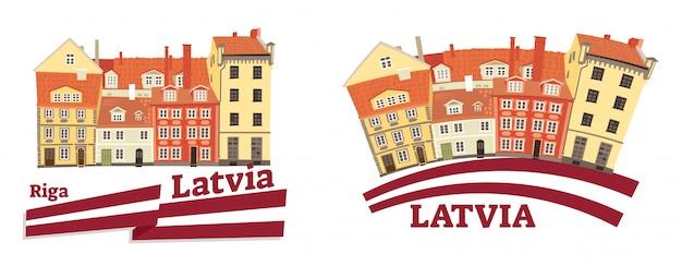 Латвийская национальная и традиционная архитектура с флагом