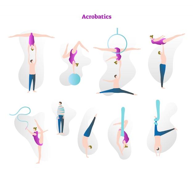 Коллекция векторных иллюстраций акробатики