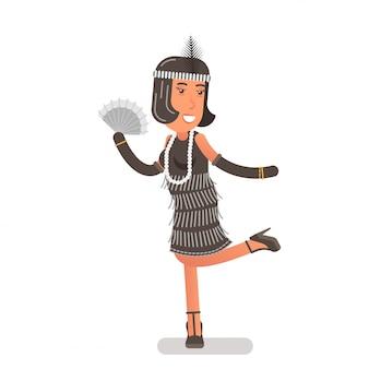 手のファンと真珠のビーズを持つ魅力的なフラッパーの女の子が片足を持ち上げる