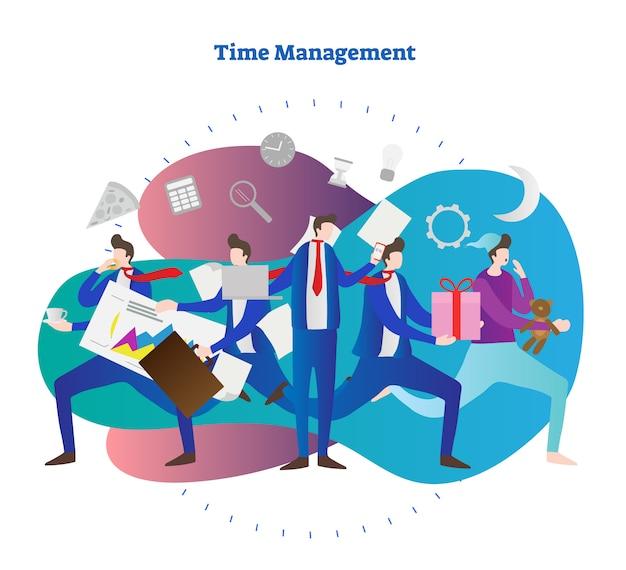 パーソナル時間管理の概念のベクトル図