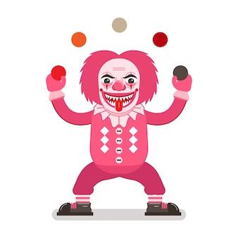 ピンクのコスチューム、鋭い歯と舌のジャグリングボールで恐ろしいピエロ