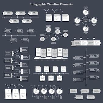 インフォグラフィックフラットベクターデザイン要素のコレクション