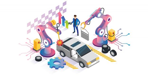 Робототехника автоматизации изометрической концепции