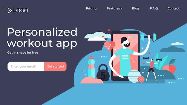 フィットネスアプリの小さな人はベクトルイラストランディングページテンプレートデザインです。