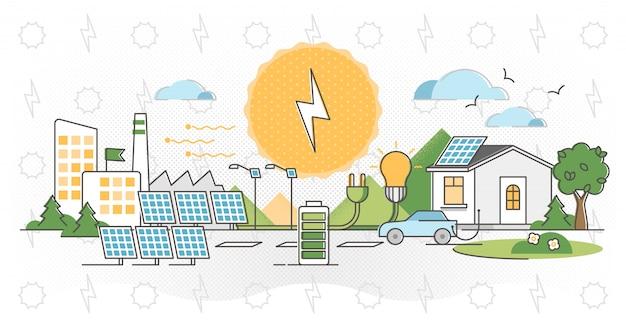 太陽光発電の図。代替光エネルギーの概要。