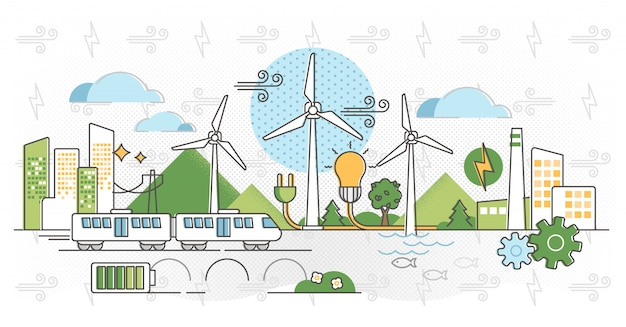 風力エネルギーの図。アウトラインのグリーン代替電力