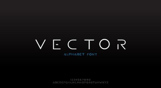 ベクトル、テクノロジーをテーマにした薄い未来的なアルファベットのフォント。モダンなミニマリストのタイポグラフィデザイン