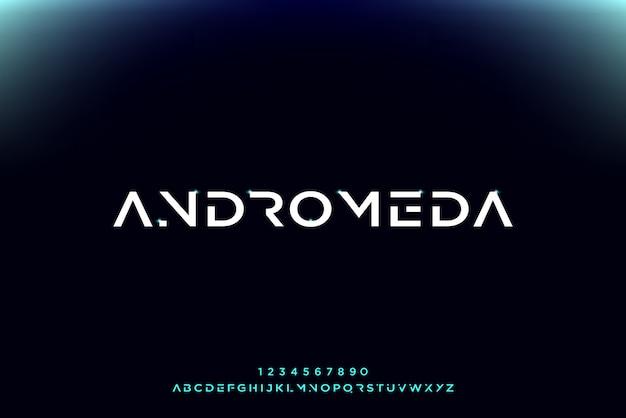 アンドロメダ、テクノロジーをテーマにした抽象的な未来的なアルファベットフォント。モダンなミニマリストのタイポグラフィデザイン