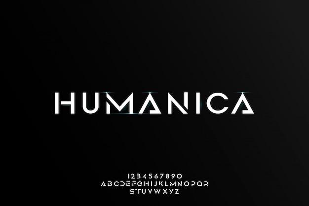 ヒューマニカ、技術をテーマにした抽象的な未来的なアルファベットフォント。モダンなミニマリストのタイポグラフィデザイン