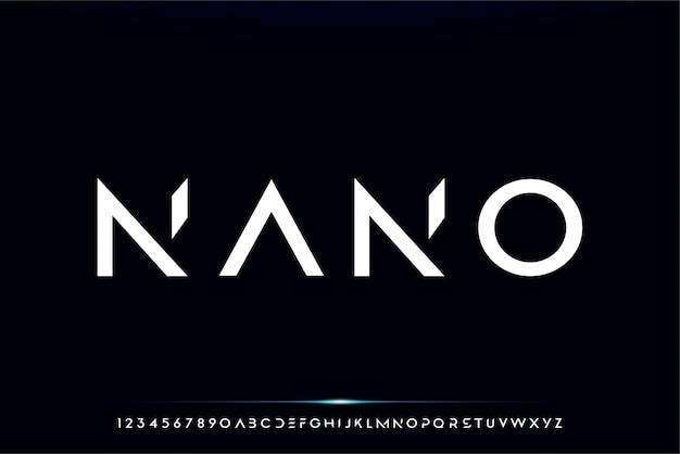 ナノ、テクノロジーをテーマにした抽象的な未来的なアルファベットのフォント。モダンなミニマリストのタイポグラフィデザイン