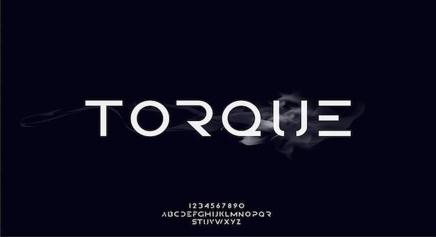 トルク、テクノロジーをテーマにした抽象的な未来的なアルファベットのフォント。モダンなミニマリストのタイポグラフィデザインプレミアム
