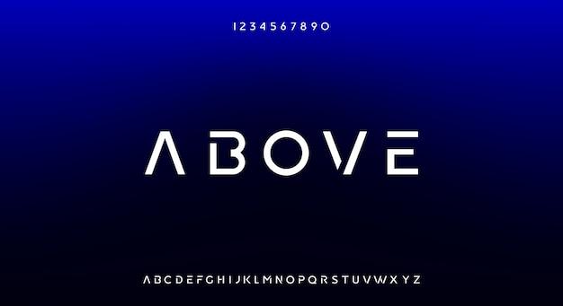 上記、テクノロジーをテーマにした抽象的な未来的なサイエンスフィクションのアルファベットのフォント。モダンなミニマリストのタイポグラフィデザイン