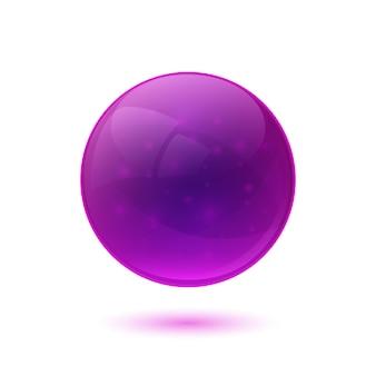 紫色の光沢のあるガラス球