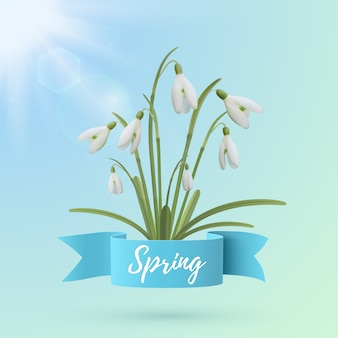 Весенний фон шаблона с цветами подснежника.