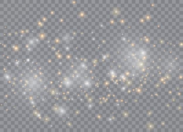 Световой эффект свечения звезд. вектор сверкает на прозрачном