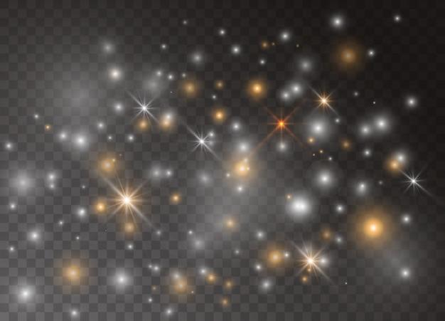 光輝き効果の星。透明な背景の上で輝きます。クリスマスの抽象的なパターン。輝く魔法のほこりの粒子。