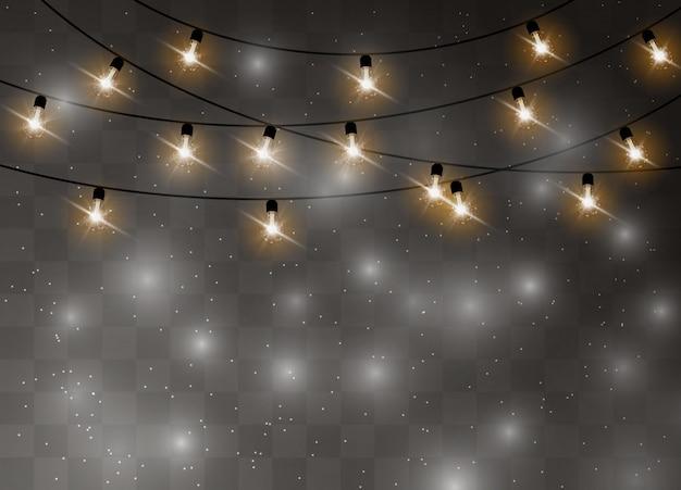 Рождественские огни изолированные реалистичные элементы дизайна. светящиеся огни гирлянды украшения. иллюстрации.