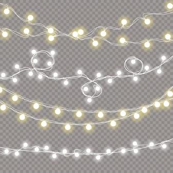 Набор рождественских огней изолированные реалистичные элементы дизайна. светящиеся огни гирлянды украшения. иллюстрации.