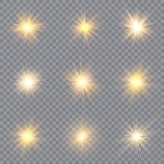 光輝き効果の星。透明な背景の上で輝きます。輝く魔法の粉塵粒子