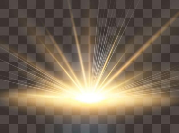 Восход, рассвет. прозрачный солнечный свет специальный эффект бликов объектива