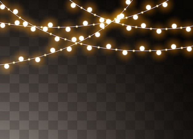 Рождественские огни изолированы. рождественские светящиеся гирлянды.