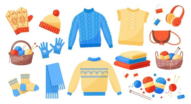 Симпатичные зимние теплые вязаные одежды задать вектор
