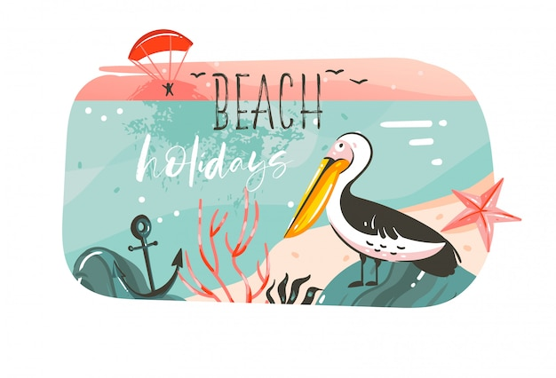 Рисованной абстрактный мультфильм летнее время графические иллюстрации баннер фон с океаном пляж пейзаж, розовый вид на закат, птица пеликан и пляжный отдых типография цитата, изолированных на белом