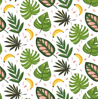手描き抽象漫画夏時間グラフィックイラストシームレスパターンバナナ果実と熱帯のヤシの葉の白い背景で隔離