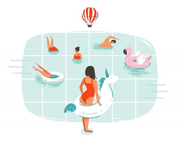 Ручной обращается мультфильм летнее время весело иллюстрация