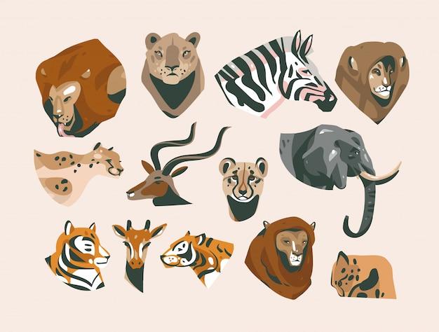 Нарисованные рукой иллюстрации шаржа комплекта комплекта собрания голов сафари африканских животных, львов, львицы, тигров, гепарда, слона, зебры, жирафа и других изолированных