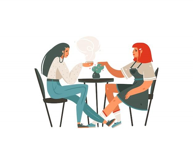 Нарисованные рукой девушки шаржа современные графические сидя в кафе и выпивая изолированное искусство иллюстрации кофе