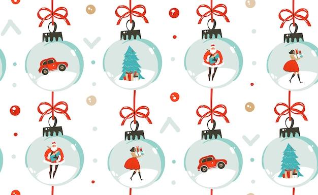 Бесшовные модели с рождественских елочных игрушек, людей и санта-клауса на белом фоне