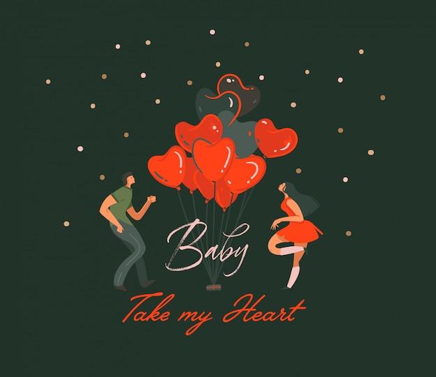 手描き抽象漫画現代幸せなバレンタインデーコンセプトイラストカップルの人々が一緒に踊ると、ハートの風船が黒い背景に分離