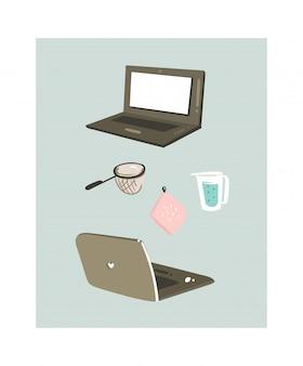 Ручной обращается время приготовления весело иллюстрация с ноутбуками и кухонным оборудованием