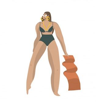 Вручите сделанную иллюстрацию с молодой счастливой положительной улыбающейся женщиной в купальнике на пляже с полотенцем на белом фоне