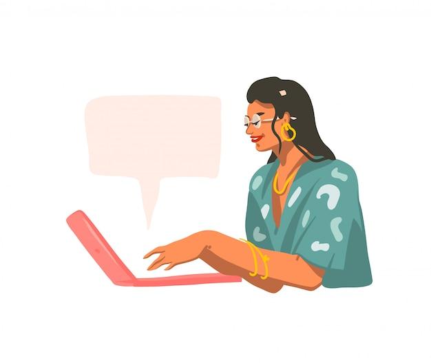 Вручите вычерченную абстрактную графическую иллюстрацию при молодая усмехаясь женщина работая на портативном компьютере и беседуя на белой предпосылке