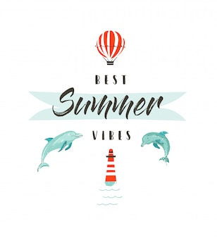 手描きの抽象的な夏の時間楽しいイラストロゴタイプまたはイルカ、熱気球、灯台、モダンなタイポグラフィで署名は白い背景の上の最高の夏の雰囲気を引用します。