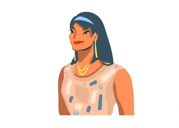 白い背景の上のイヤリングと若い笑顔の美しい女性と手描きの抽象的なストックグラフィックイラスト
