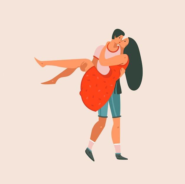 手描きカップルキスカップル一緒に分離された漫画モダンなグラフィックイラストアートカード