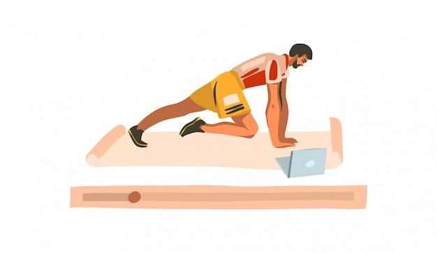 Вручите сделанную иллюстрацию с молодым счастливым мужчиной, тренирующимся дома с ноутбуком, наблюдающим онлайн-тренировку фитнеса на белом фоне