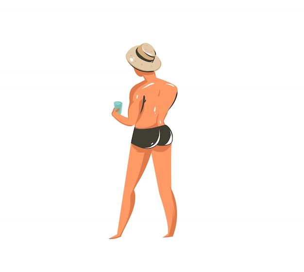 Ручной обращается мультфильм летнее время коллекции иллюстраций с характером молодого человека на пляже на белом фоне