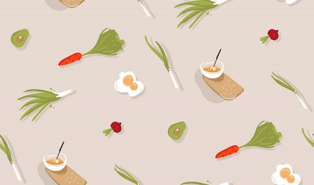 手描き抽象モダンな漫画調理時間楽しいイラストアイコンシームレスパターン灰色の背景に野菜、食品、キッチン用品